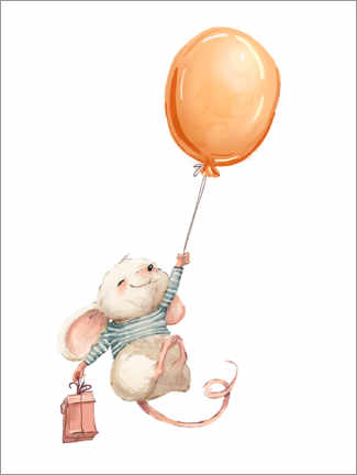 Premium poster Mouse with a Balloon