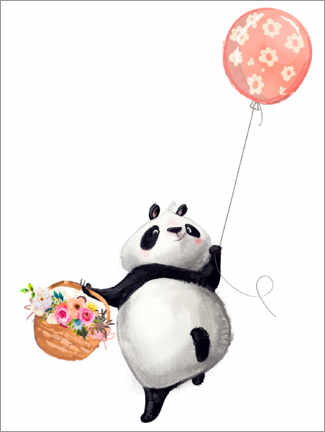 Premium poster  Panda bear with balloon - Kidz Collection