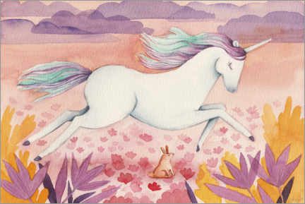 Aluminium print  Galloping Unicorn - Michelle Beech
