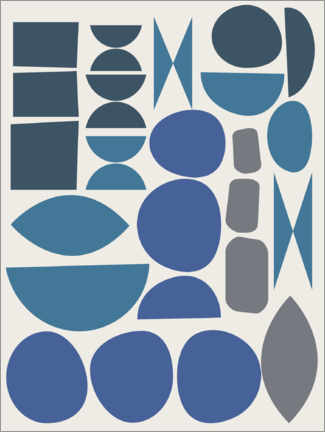 Wood print  Geometry in blue - apricot and birch