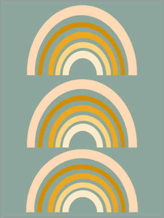 Canvas print  Rainbow geometry - apricot and birch