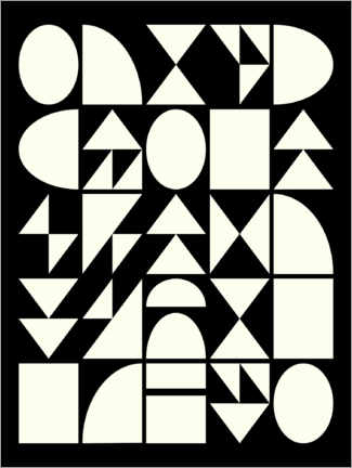Canvas print  Black and white geometric shapes - apricot and birch