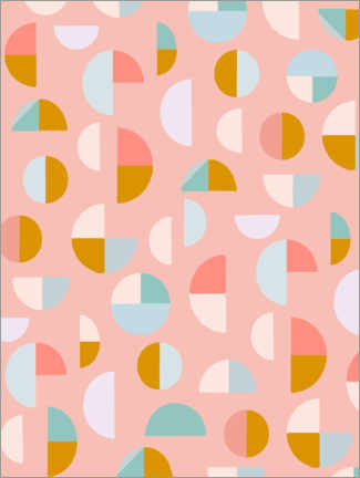 Premium poster  Candy Geometry - apricot and birch