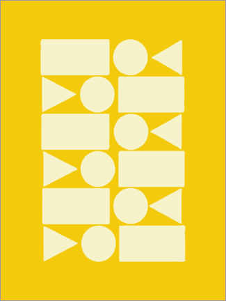 Premium poster  Geometry in sun yellow - apricot and birch