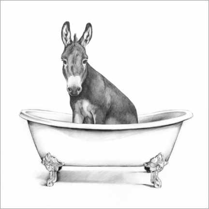 Wood print  Donkey in the tub - Victoria Borges