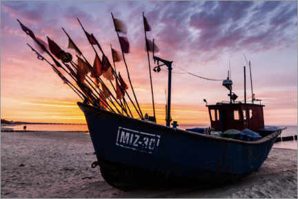 Premium poster Fishing boat in the sunset