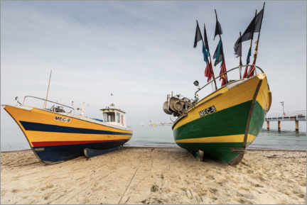 Premium poster Fishing boats on the beach