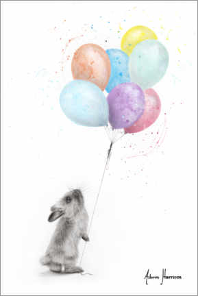 Premium poster The Bunny and the Balloons