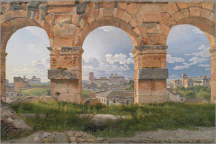 Premium poster  View through three arches from the Colosseum - Christoffer Wilhelm Eckersberg