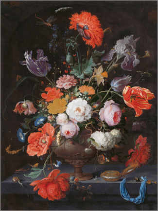 Premium poster Still life with flowers and a clock