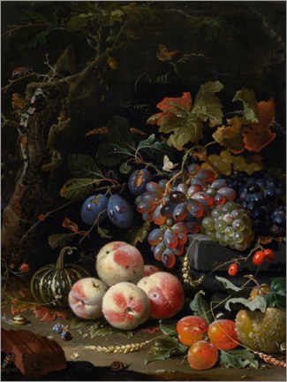 Canvas print  Still life with fruits, leaves and insects - Abraham Mignon