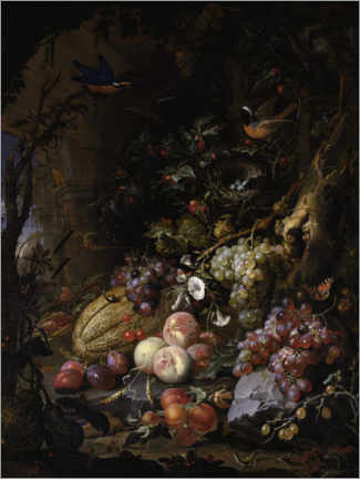 Premium poster Flowers, fruits, birds and insects in a landscape with ruins