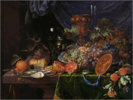 Premium poster Still life with fruit and oysters