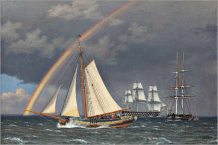 Canvas print  Rainbow at sea with some cruising ships - Christoffer Wilhelm Eckersberg