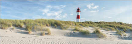 Premium poster Lighthouse on the dune beach on Sylt