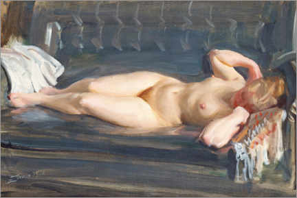 Canvas print  On the blue-gray leather couch - Anders Leonard Zorn