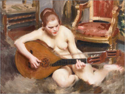 Wood print  Naked woman with guitar - Anders Leonard Zorn