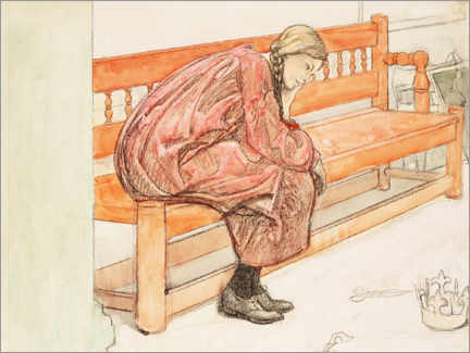 Premium poster  Dagmar Grill sitting on a red bench - Carl Larsson