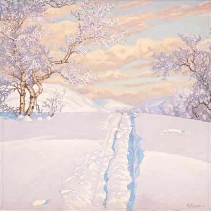 Premium poster  Winter Landscape with Ski Tracks - Gustaf Edolf Fjæstad