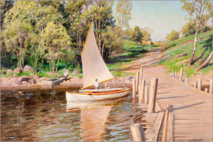 Wall sticker  Beach landscape with geese in the sailboat - Johan Krouthén
