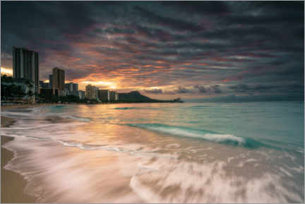 Premium poster  Waikiki at sunrise - Road To Aloha
