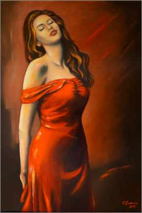 Premium poster  Lady in red dress - Marita Zacharias