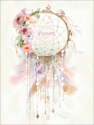 Wood print  Rosé Dream Catcher - Lara Skinner