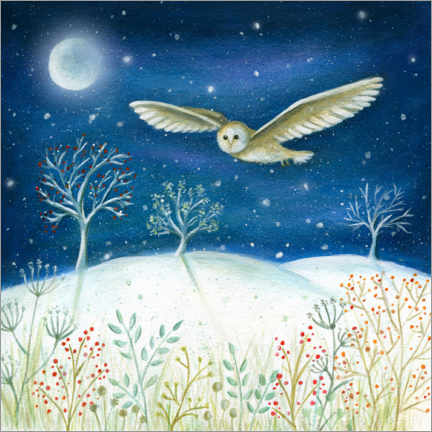 Premium poster Snowy owl in the moonlight