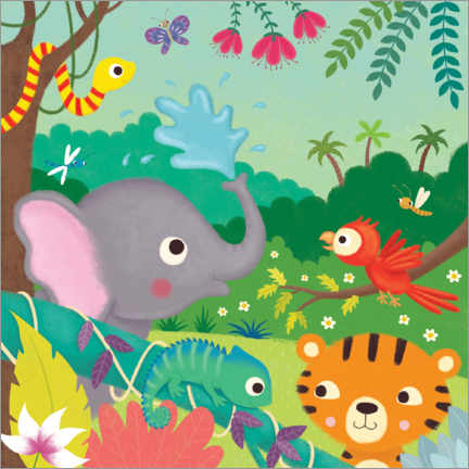 Acrylic print  Colorful jungle animals - Lucy Barnard
