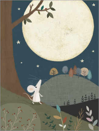 Aluminium print  The little mouse and the moon - Lucy Barnard
