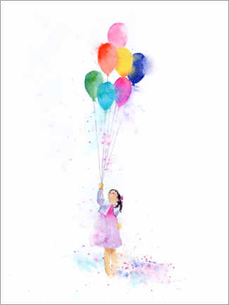 Premium poster Girl with balloons