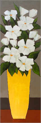 Canvas print  White flowers in a yellow vase - Hans Paus