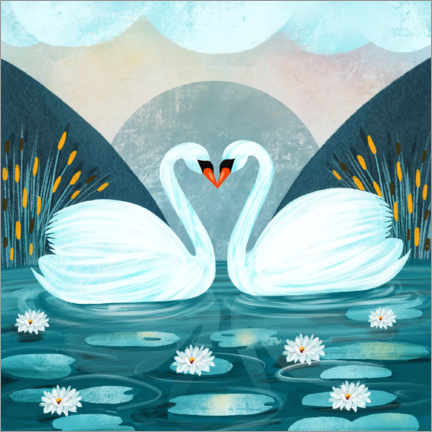 Wood print  Pair of Swans - Grace Andersson