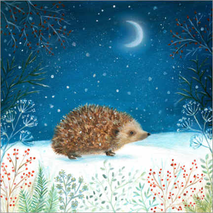 Premium poster  Hedgehog in search of berries - Ileana Oakely