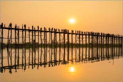 Wood print  Sunset over the U-Bein bridge, Myanmar - Circumnavigation