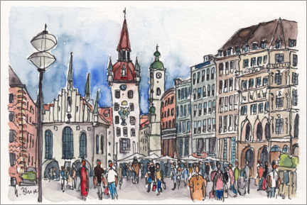 Canvas print  Marienplatz in Munich - Hartmut Buse