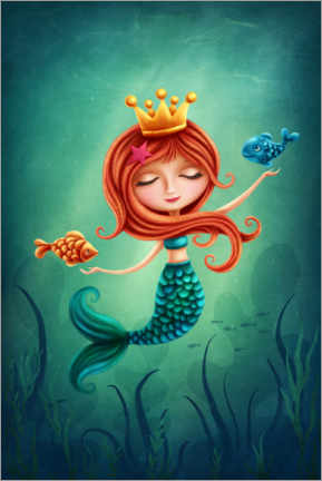 Premium poster  Mermaid playing with fishes - Elena Schweitzer