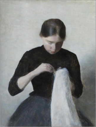 Canvas print  Young Girl Sewing - Vilhelm Hammershøi