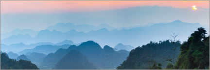 Premium poster  Karst landscape in North Vietnam at sunset - Fabio Lamanna