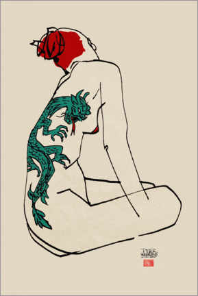 Premium poster  Nude with dragon tattoo - Pieter Hogenbirk