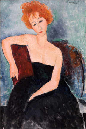 Canvas print  Red-haired girl in evening dress - Amedeo Modigliani