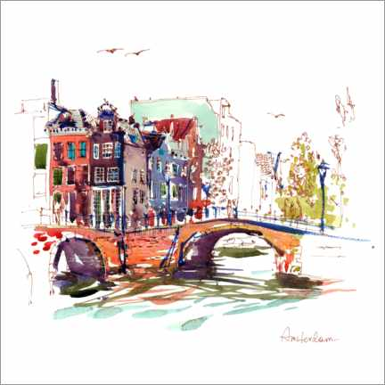 Canvas print  Canals of Amsterdam, Netherlands - Anastasia Mamoshina