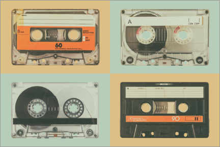 Canvas print  Retro styled audio compact cassettes - Martin Bergsma