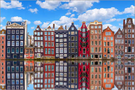 Acrylic print  Houses are reflected on the canal, Amsterdam - George Pachantouris