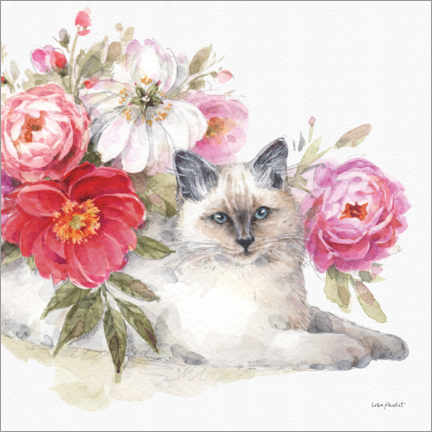 Premium poster Adorable cat with flowers