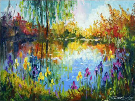 Canvas print  Irises by the pond - Olha Darchuk