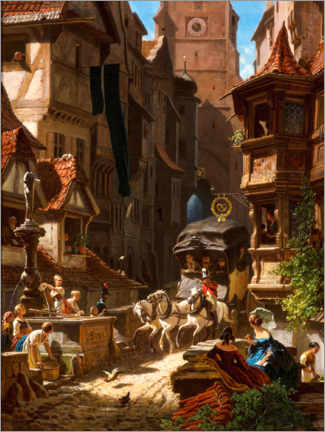 Premium poster  Arrival of the stagecoach - Carl Spitzweg