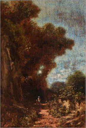 Gallery print  Landscape with woman and child under tall trees - Carl Spitzweg