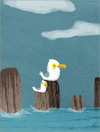 Wall sticker  Two Seagulls - Julia Reyelt