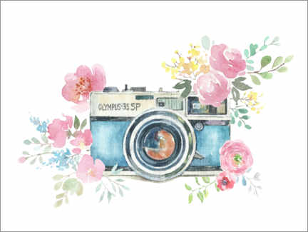 Premium poster Vintage camera with flowers
